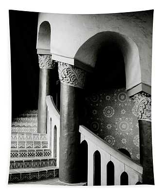 Spiral Stairs- Black And White Photo By Linda Woods Tapestry