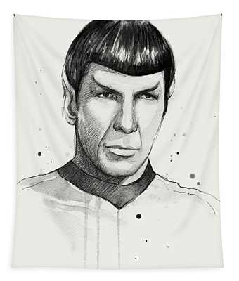 Spock Watercolor Portrait Tapestry