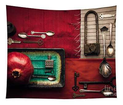 Spoons, Locks And Keys Tapestry