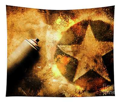 Spray Can With Army Star Graffiti Tapestry