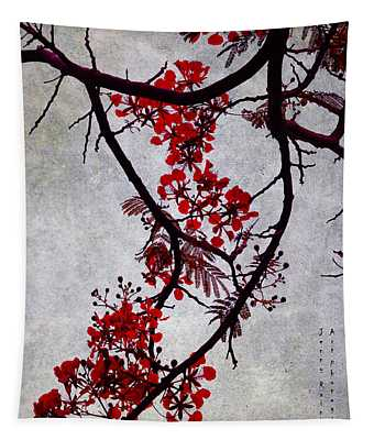 Spring Bloosom In Maldives. Flamboyant Tree II. Japanese Style Tapestry