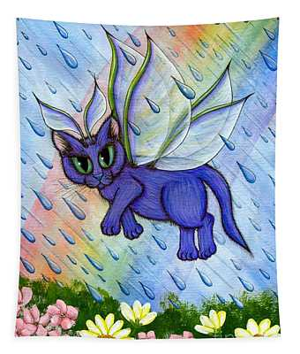 Spring Showers Fairy Cat Tapestry