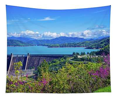 Springtime At Shasta Lake Dam Tapestry
