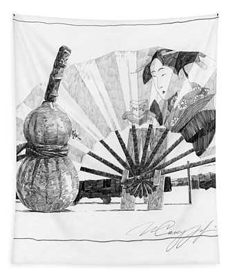 Spirit Of Japan. Pumpkin Jar And Fan Tapestry