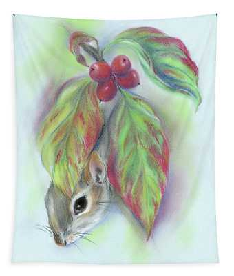 Squirrel In The Autumn Dogwood Tapestry