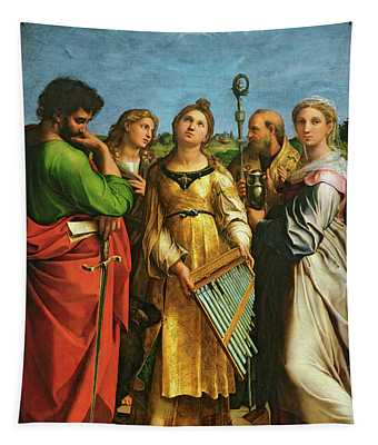 St Cecilia Surrounded By St Paul, St John The Evangelist, St Augustine And Mary Magdalene Tapestry