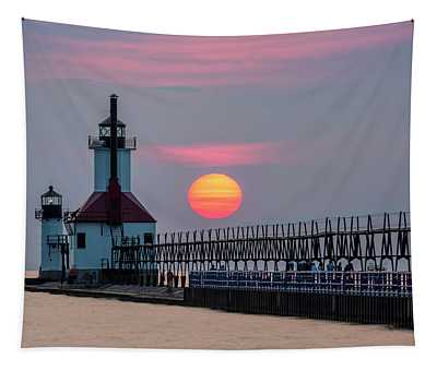 St. Joseph Lighthouse At Sunset Tapestry
