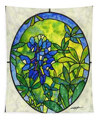 Stained Glass Bluebonnet Tapestry