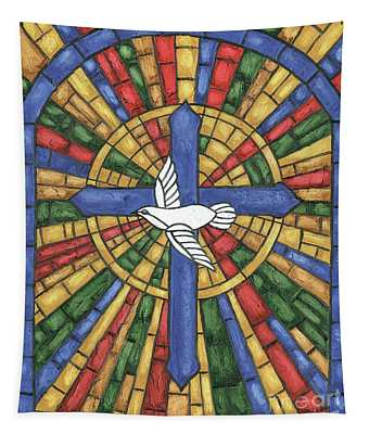 Stained Glass Cross Tapestry