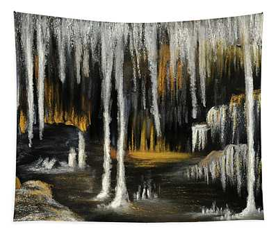 Tapestry featuring the painting Stalactite Cave by Anastasiya Malakhova