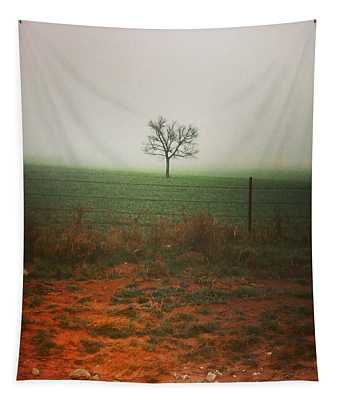Tapestry featuring the photograph Standing Alone, A Lone Tree In The Fog. by Shelli Fitzpatrick