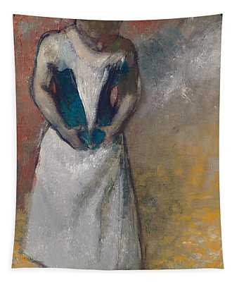 Standing Woman Seen From The Front, Clasping Her Corset Tapestry