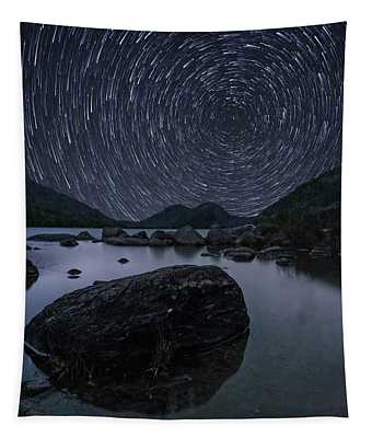 Star Trails Over Jordan Pond Tapestry