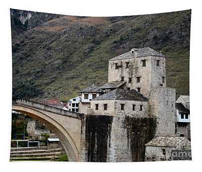 Stari Most Ottoman Bridge And Embankment Fortification Mostar Bosnia Herzegovina Tapestry