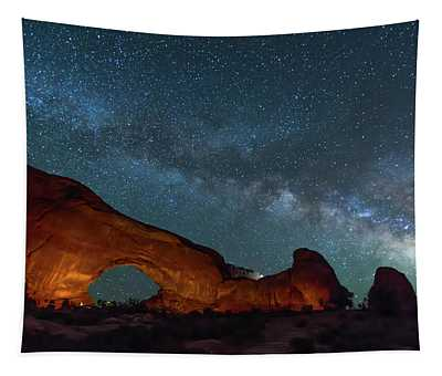 Starry Night At North Window Rock Tapestry