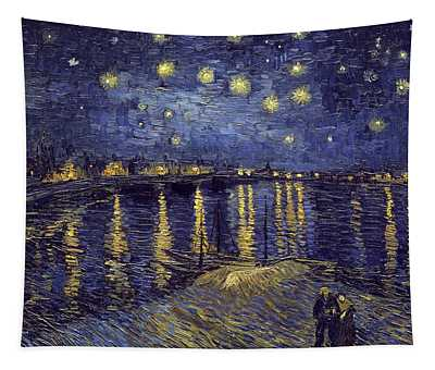Tapestry featuring the painting Starry Night Over The Rhone by Van Gogh