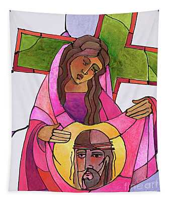 Stations Of The Cross - 06 St. Veronica Wipes The Face Of Jesus - Mmvew Tapestry