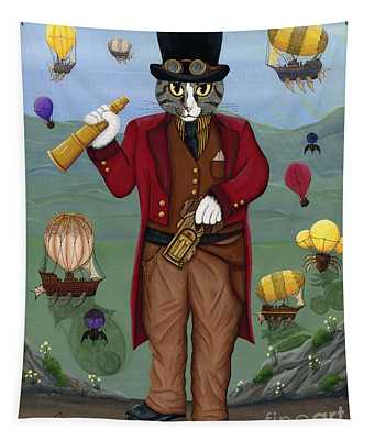 Steampunk Cat Guy - Victorian Cat Tapestry