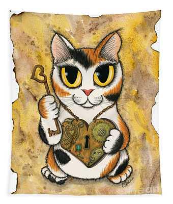 Steampunk Valentine Cat Tapestry