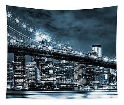 Steely Skyline Tapestry