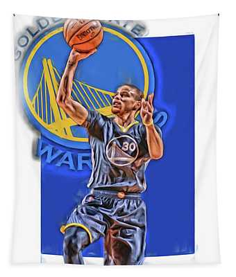 Stephen Curry Golden State Warriors Oil Art 2 Tapestry