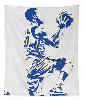 Stephen Curry Golden State Warriors Pixel Art Tapestry
