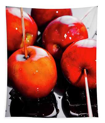 Sticky Red Toffee Apple Childhood Treat Tapestry