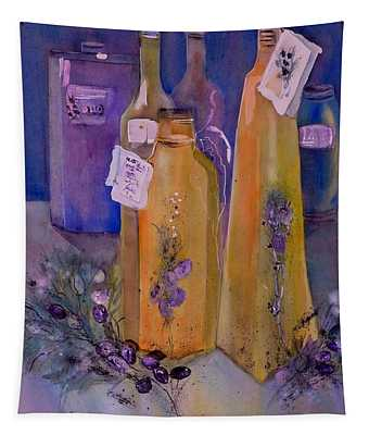 Still Life Olive Oil And Olive Twigs Tapestry