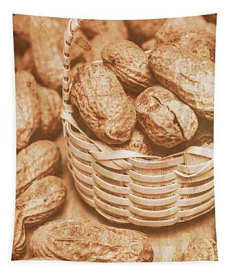 Still Life Peanuts In Small Wicker Basket On Table Tapestry
