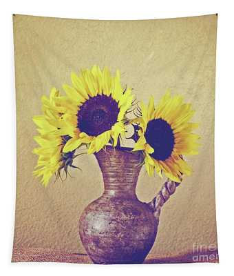 Still Life Sunflowers - Square Tapestry