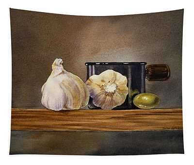 Still Life With Garlic And Olive Tapestry
