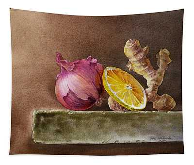 Still Life With Onion Lemon And Ginger Tapestry