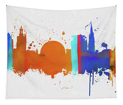 Stockholm Colorful Skyline Tapestry