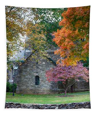 Stone Church In Pomfret Ct In Autumn Tapestry