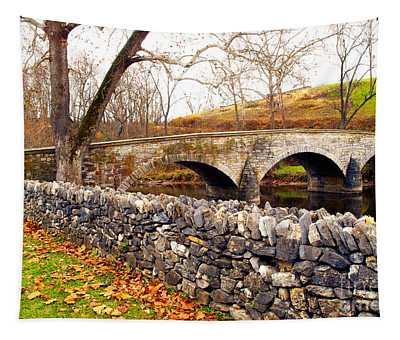 Stone Wall At Burnside Bridge Tapestry