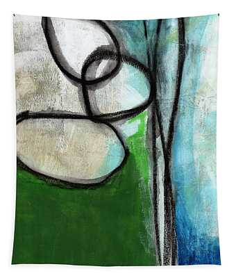 Stones- Green And Blue Abstract Tapestry