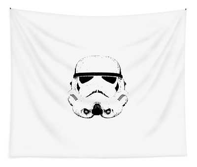 Tapestry featuring the digital art Stormtrooper Helmet Star Wars Tee Black Ink by Edward Fielding