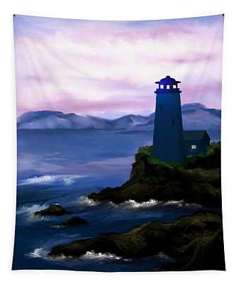 Stormy Blue Night Tapestry