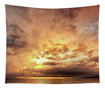 Stormy Ka'anapali Sunset Tapestry