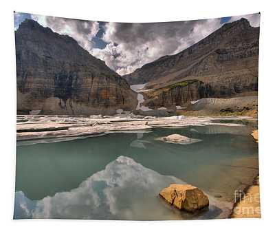 Stormy Reflections In Grinnell Pond Tapestry