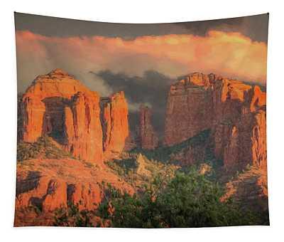 Stormy Sedona Sunset Tapestry