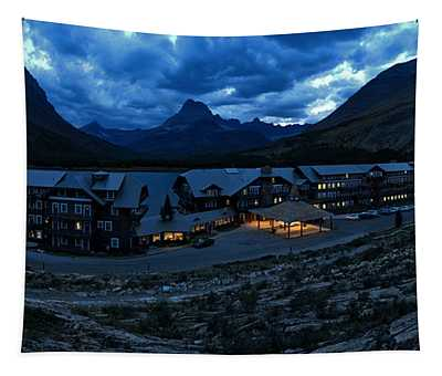 Stormy Skies Over Many Glacier Lodge Tapestry