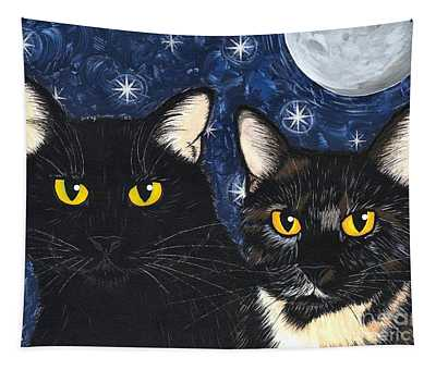 Strangeling's Felines - Black Cat Tortie Cat Tapestry