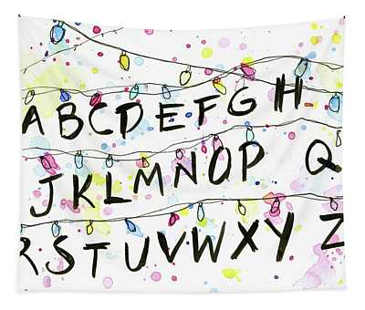 Stranger Things Alphabet Wall Christmas Lights Tapestry