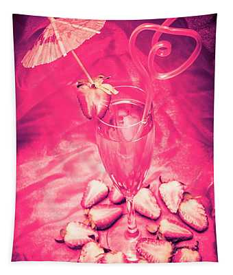 Strawberry Martini In Pink Light Tapestry