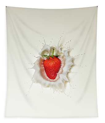 Strawberry Splash In Milk Tapestry