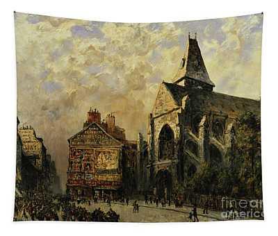 Street Scene Behind The Saint Medard Church, Paris Tapestry