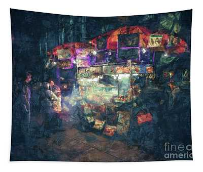 Street Vendor Food Stand Tapestry