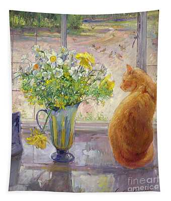 Striped Jug With Spring Flowers Tapestry