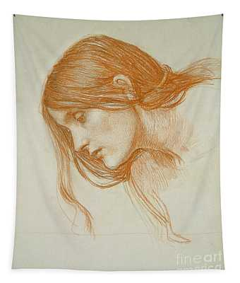 Study Of A Girls Head Tapestry